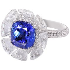 Rarever 18K White Gold 5.29ct Tanzanite Tawiz Diamond Cocktail Engagement Ring