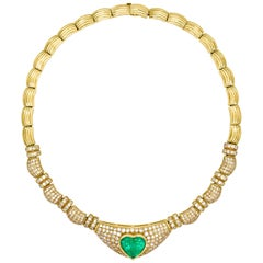 11.75 Carat Heart-Shaped Emerald and Diamond Necklace