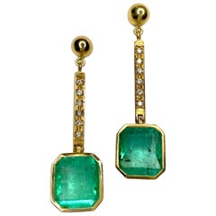 11.75 Carat Square Colombian Emerald and Diamond Drop Dangle Earrings