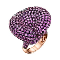 11.75ct Pink Sapphire, Calla Lilies Ring accented with Diamonds, 18RG