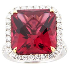11.76 Carat Rubellite Tourmaline and Diamond Ring