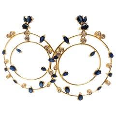 11.76 Carat Yellow Gold Diamond Sapphire Earrings