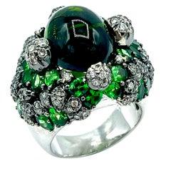 11.78 Carat Green Tourmaline Diamond and Tsavorite Garnet 18K Gold Cocktail Ring
