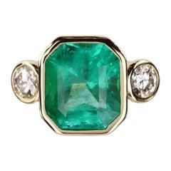11.79tcw 18K Three Stone Colombian Emerald Cut & Round Diamond Engagement Ring