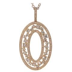 1.18 Brown Diamonds 18 Karat Pink Gold Pendant Necklace