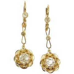 1.18 Carart Old European Cut Diamond and 18 Karat Yellow Gold Dangle Earrings