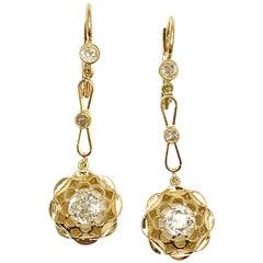 1.18 Carart Old European Cut Diamond and 18 Karat Yellow Gold Dangle Earrings