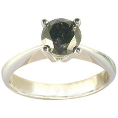1.18 Carat 18 Karat White Gold Black Diamond Engagement Ring