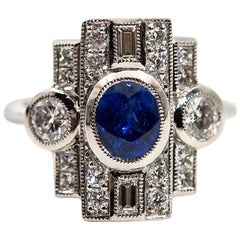 1.18 Carat Blue Oval Natural Sapphire Diamond Platinum Vintage Style Ring