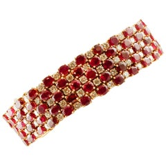 11.8 Carat Diamonds, 61.7 Carat Rubies, 18 Karat Yellow Gold Marvelous Bracelet