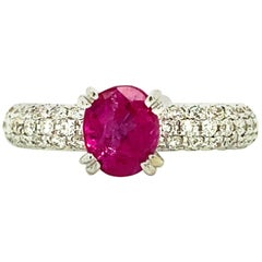 1.18 Carat GRS Certified Unheated Burmese Pink Sapphire and White Diamond Ring