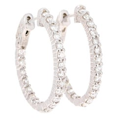 1.18 Carat Hoop Earring 14 Karat White Gold