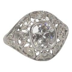1.18 Carat I Si1 Old Mine Diamond Edwardian Antique Ring
