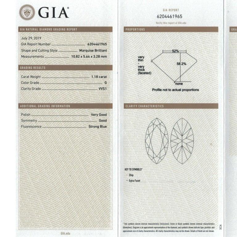 Marquise Cut 1.18 Carat Marquise Diamond Engagement Ring GIA G/VVS1 18 Karat White Gold For Sale