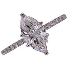 1.18 Carat Marquise Diamond Engagement Ring GIA G/VVS1 18 Karat White Gold