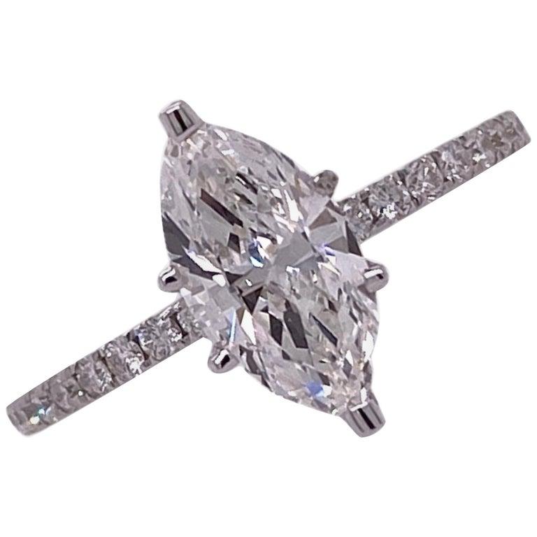 1.18 Carat Marquise Diamond Engagement Ring GIA G/VVS1 18 Karat White Gold For Sale
