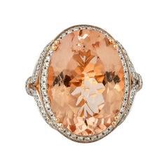 11.8 Carat Morganite and Diamond Ring in 18 Karat Rose Gold