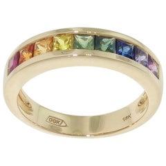 1.18 Carat Multi-Color Princess Cut Sapphire Gold Eternity Band Ring