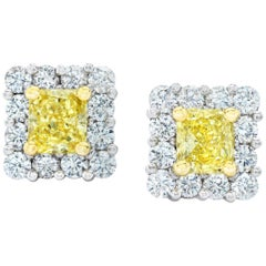 1.18 Carat Natural Fancy Yellow Diamond Platinum and 18k Yellow Gold Earrings