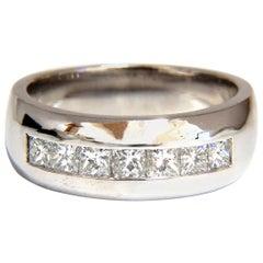 1.18 Carat Natural Princess Cut Diamonds Wide Band Channel 14 Karat