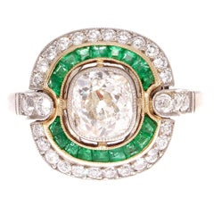 1.18 Carat Old Mine Cut Diamond Emerald Platinum Engagement Ring