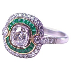 1.18 Carat Old Mine Cut Diamond Emerald Platinum Gold Engagement Ring