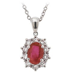 1.18 Carat Oval Ruby and Diamond 18 Carat White Gold Pendant