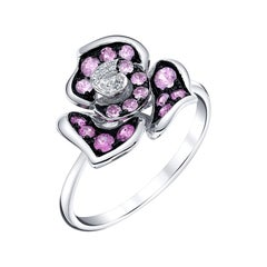 1.18 Carat Pink Sapphire and Diamond White Gold Flower Cocktail Ring