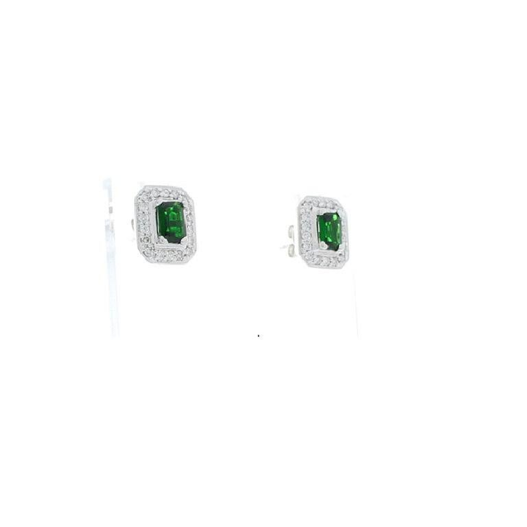 1.18 Carat Total Emerald Cut Green Tsavorite and Diamond Stud Earring In New Condition For Sale In Chicago, IL