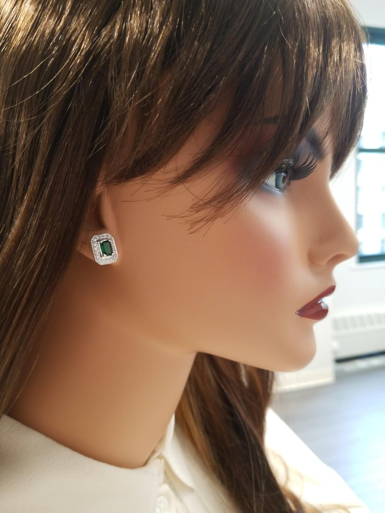 1.18 Carat Total Emerald Cut Green Tsavorite and Diamond Stud Earring For Sale 2