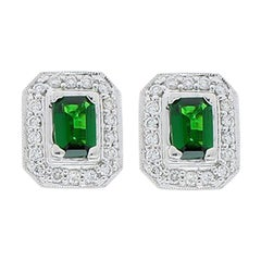 1.18 Carat Total Emerald Cut Green Tsavorite and Diamond Stud Earring