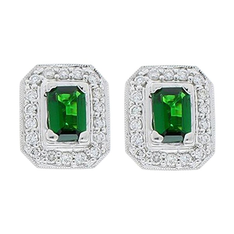 1.18 Carat Total Emerald Cut Green Tsavorite and Diamond Stud Earring For Sale
