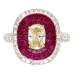 1.18 Carat Yellow Diamond and Rubies Platinum Cocktail Ring Estate Fine Jewelry