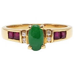 1.18 Carat Yellow Gold Emerald Ruby Diamond Ring