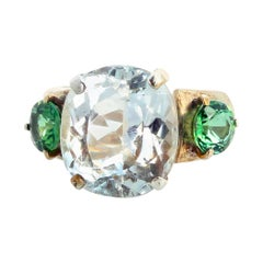 11.80 Carat White Topaz and Green Tourmaline Sterling Silver Ring