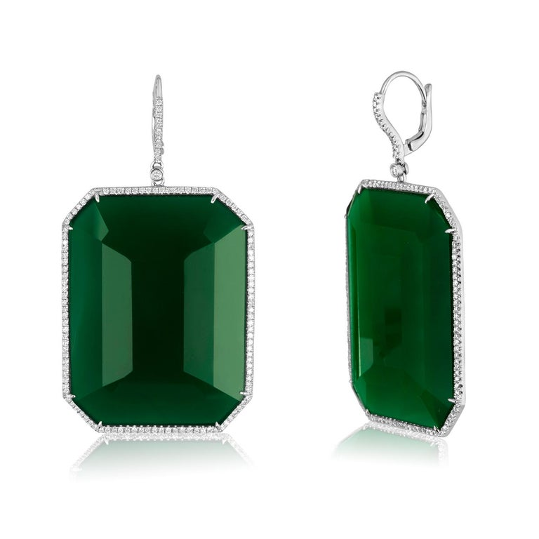 Show Stopping Green Agate Earrrings surrounded in Diamonds Set in 18K White Gold. There are 1.40ct in H SI Diamonds. There are 118.15ct in Green Agate. The earrings measure 2.5