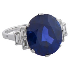 11.82 Carat Burmese Sapphire Diamond Platinum Engagement Ring, circa 1930