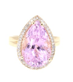11.83 Carat Kunzite Diamond Yellow Gold Bridal Ring