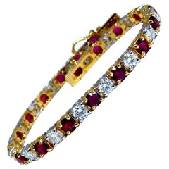 11.83 Carat Vivid Red Natural Ruby Diamonds Tennis Bracelet 14kt Gold Two-Toned