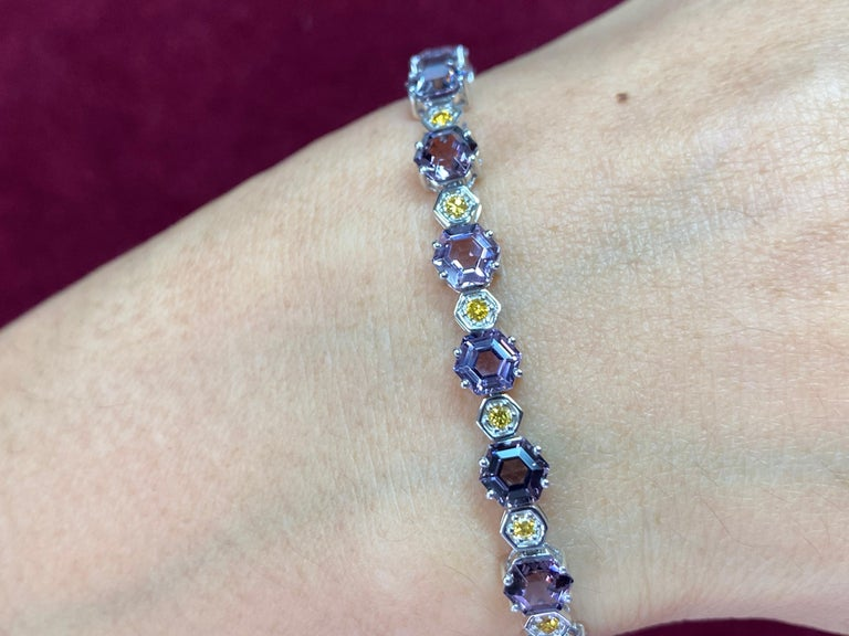 Modern 11.83 CTW Spinel and Fancy Vivid Yellow Diamond Bracelet Set in 18k White Gold For Sale