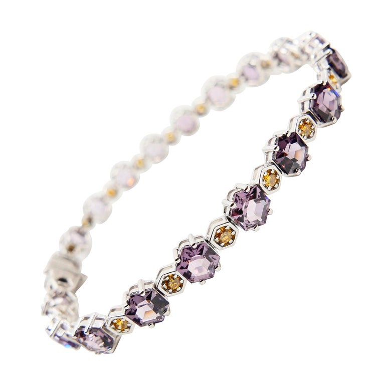 11.83 CTW Spinel and Fancy Vivid Yellow Diamond Bracelet Set in 18k White Gold For Sale