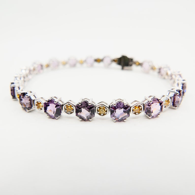 11.83 CTW Spinel and Fancy Vivid Yellow Diamond Bracelet Set in 18k White Gold For Sale 5