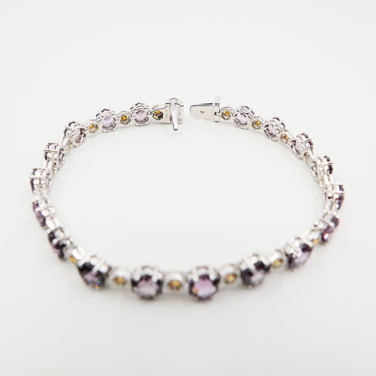 11.83 CTW Spinel and Fancy Vivid Yellow Diamond Bracelet Set in 18k White Gold For Sale 6