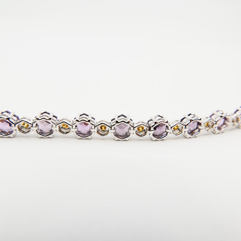 Women's 11.83 CTW Spinel and Fancy Vivid Yellow Diamond Bracelet Set in 18k White Gold For Sale