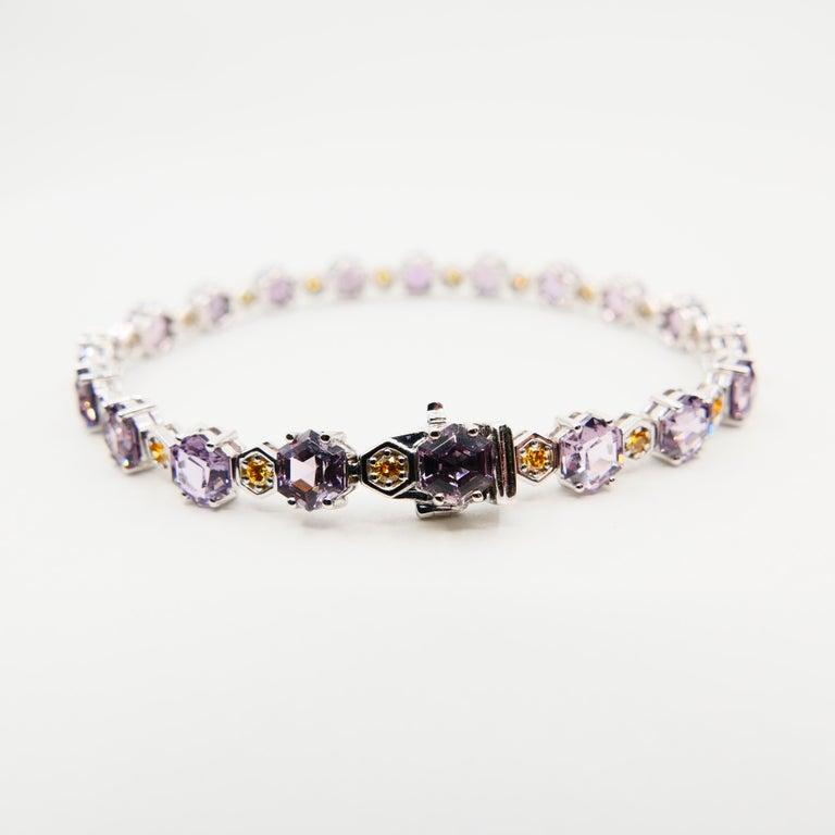 11.83 CTW Spinel and Fancy Vivid Yellow Diamond Bracelet Set in 18k White Gold For Sale 2