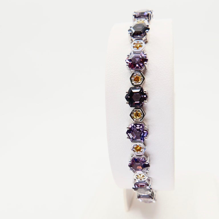 11.83 CTW Spinel and Fancy Vivid Yellow Diamond Bracelet Set in 18k White Gold For Sale 3