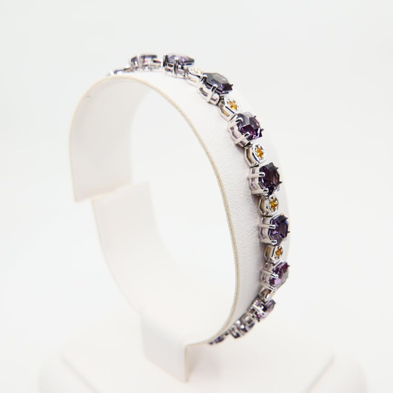 11.83 CTW Spinel and Fancy Vivid Yellow Diamond Bracelet Set in 18k White Gold For Sale 4