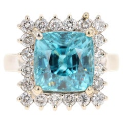 11.84 Carat Blue Zircon Diamond 14 Karat White Gold Cocktail Ring