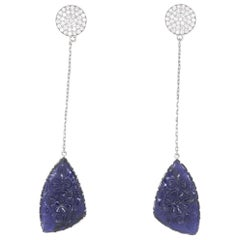 11.84 Carat Carved Iolite and White Diamond Dangle Drop Earrings