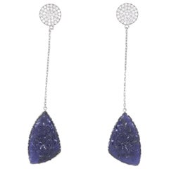 11.84 Carat Carved Iolite & Whit Diamond Dangle Drop Earrings